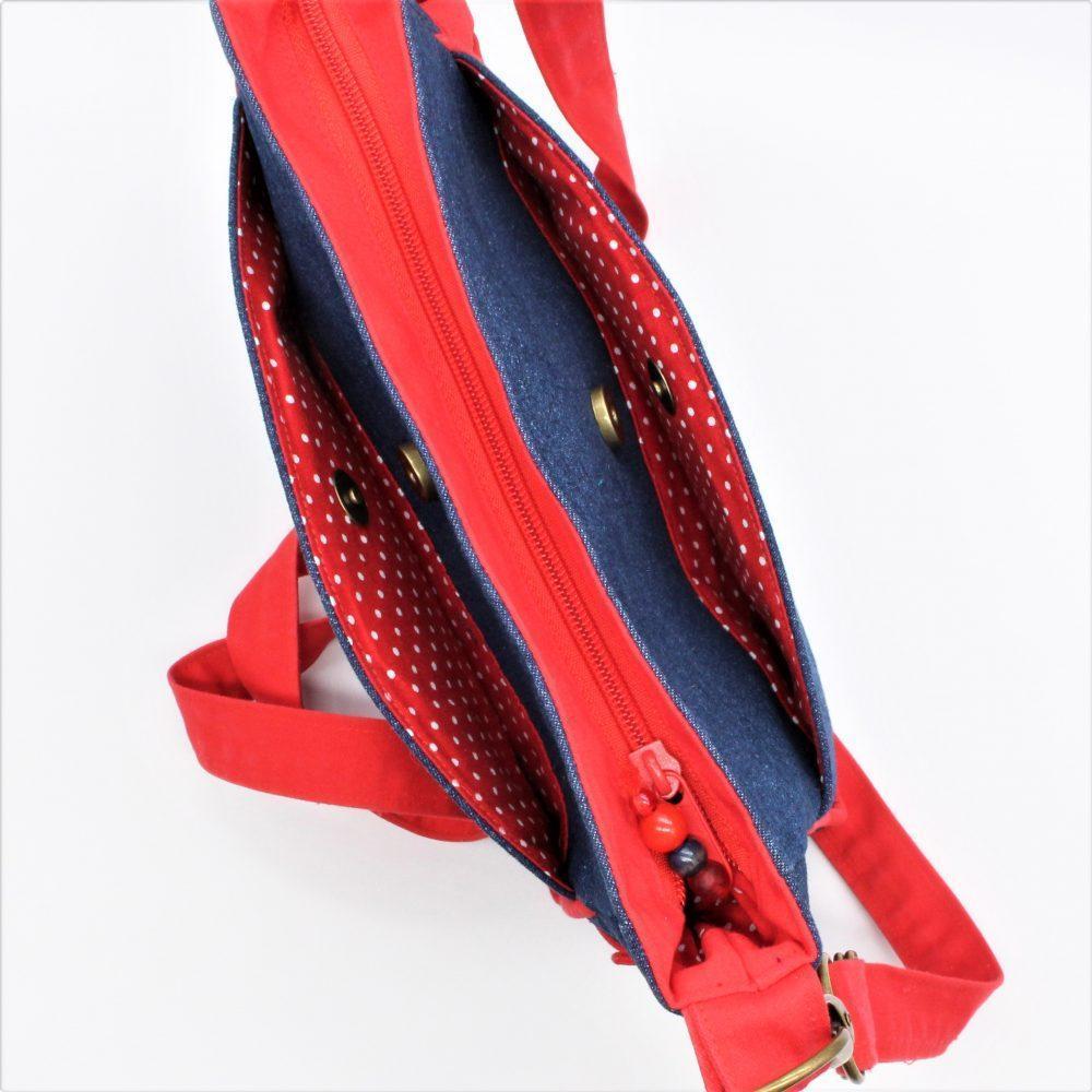 """Jeans-Handtasche """"Linda"""" mit roten Paspel"""