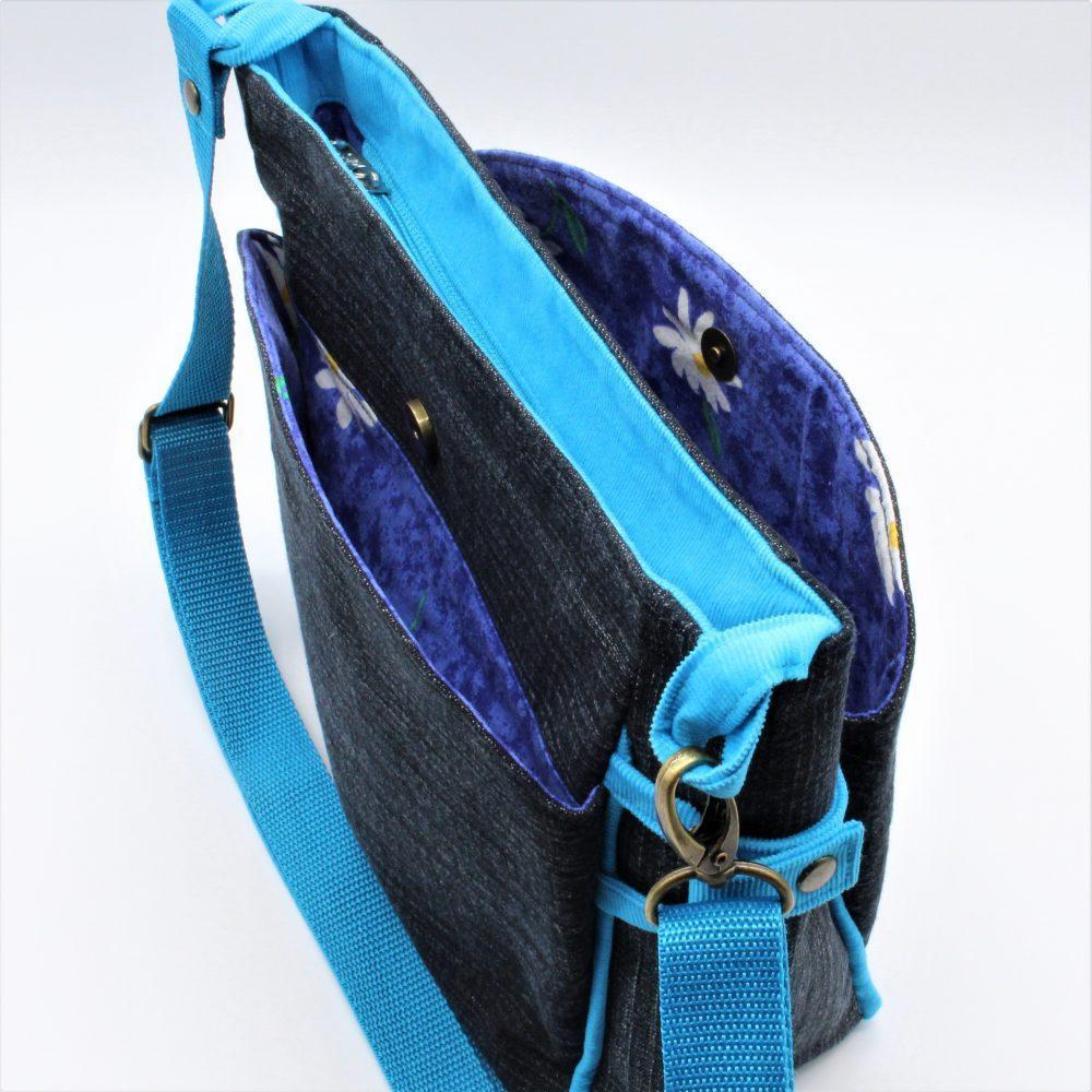 Tasche mit türkis Paspeln von oben