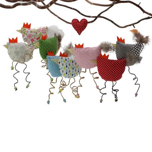 lustige Hühner in vielen Farben