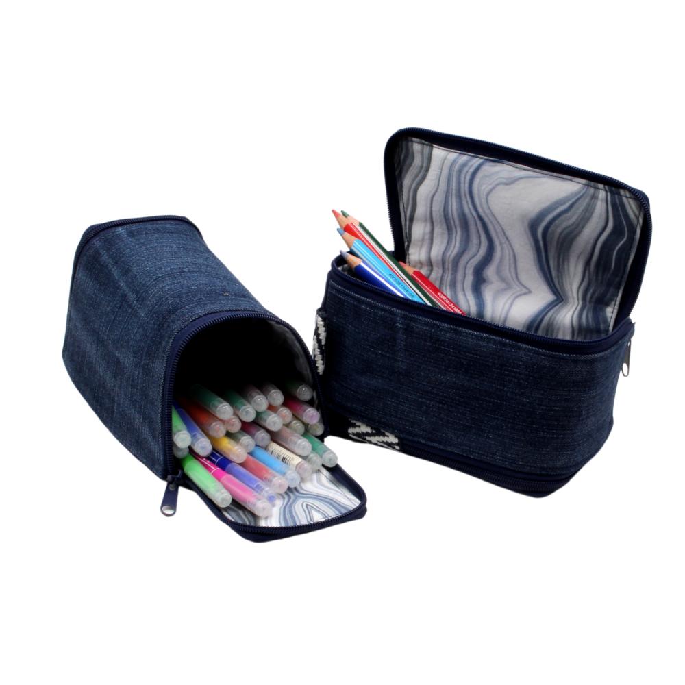 Stifte-Mäppchen im Jeans-Upcycling