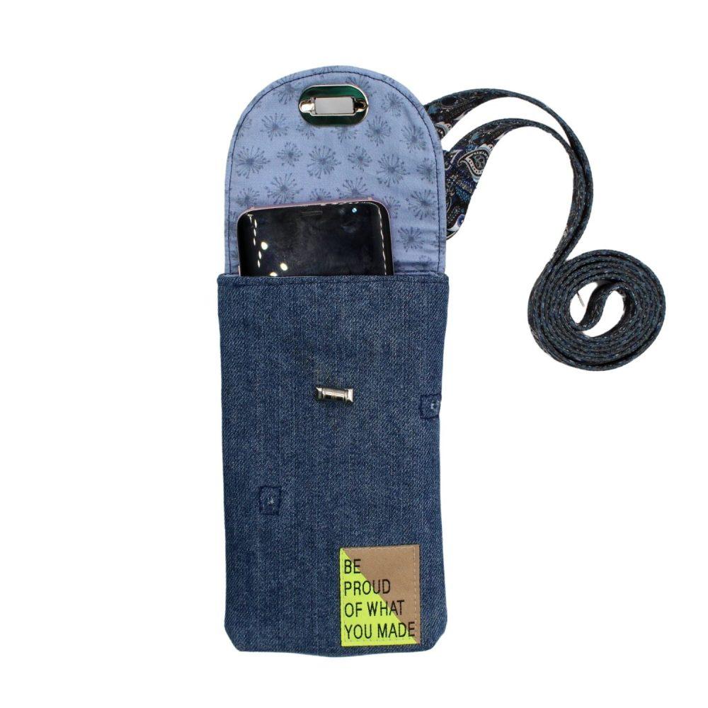 Jeansblaue Handytasche