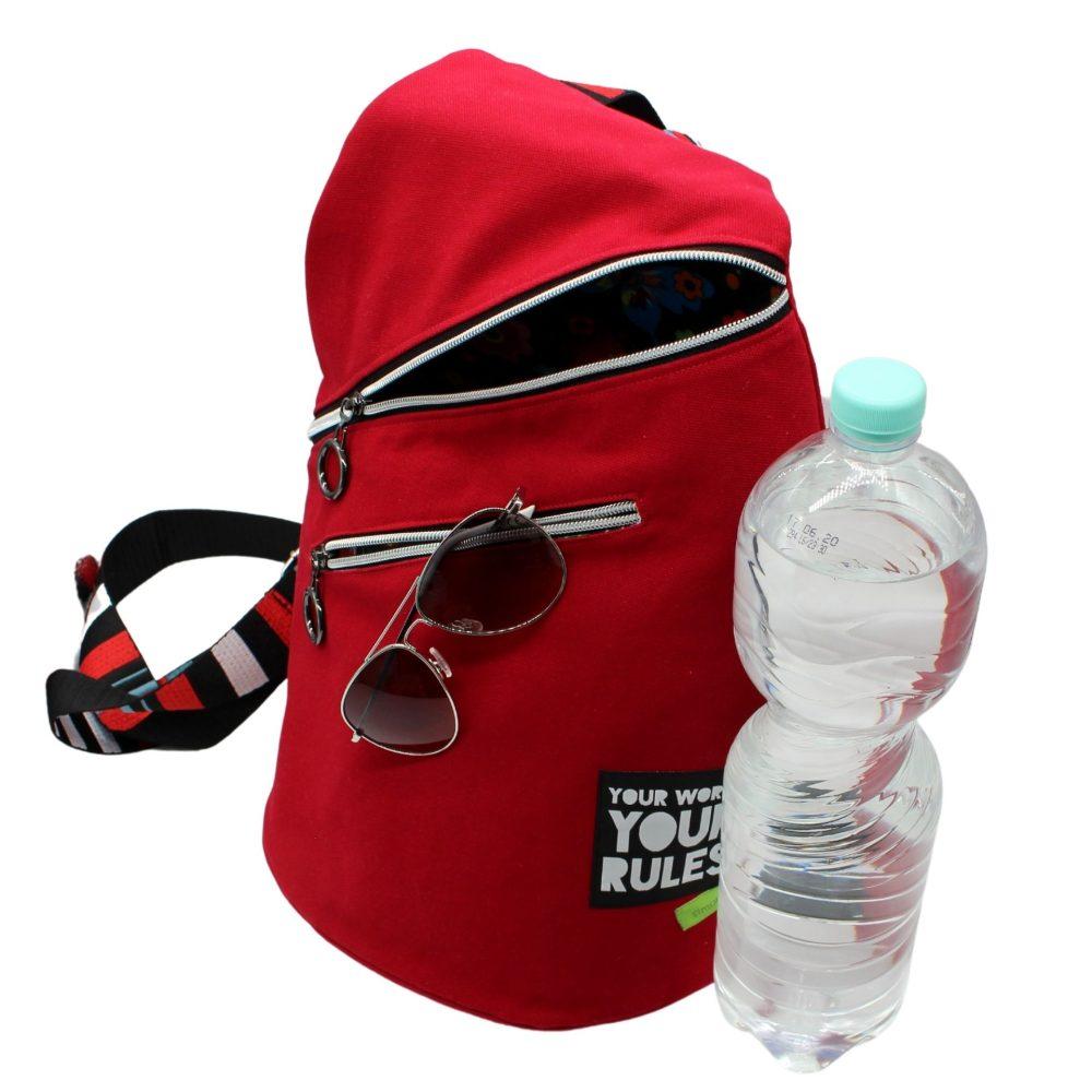 Rucksack für Damen aus roten Canvas