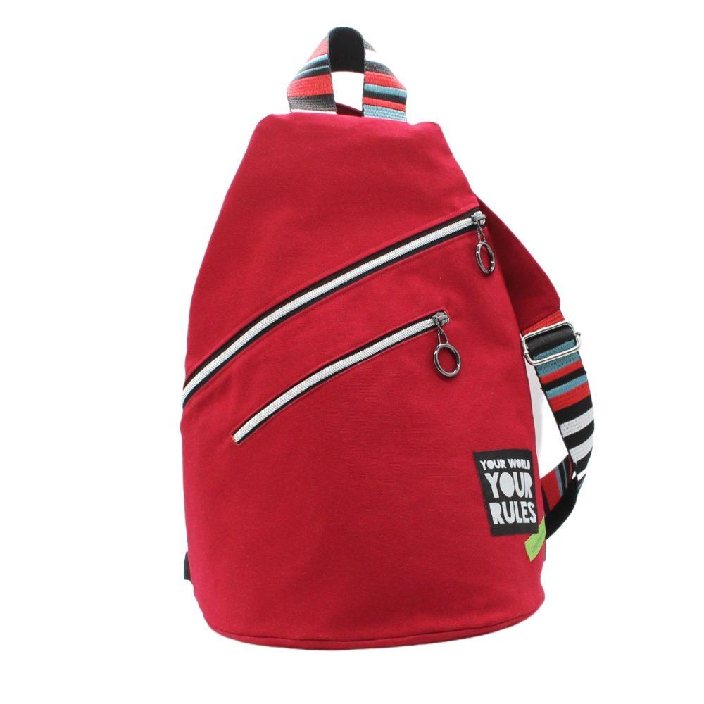 großer Cross-Bag für Damen aus roten Canvas